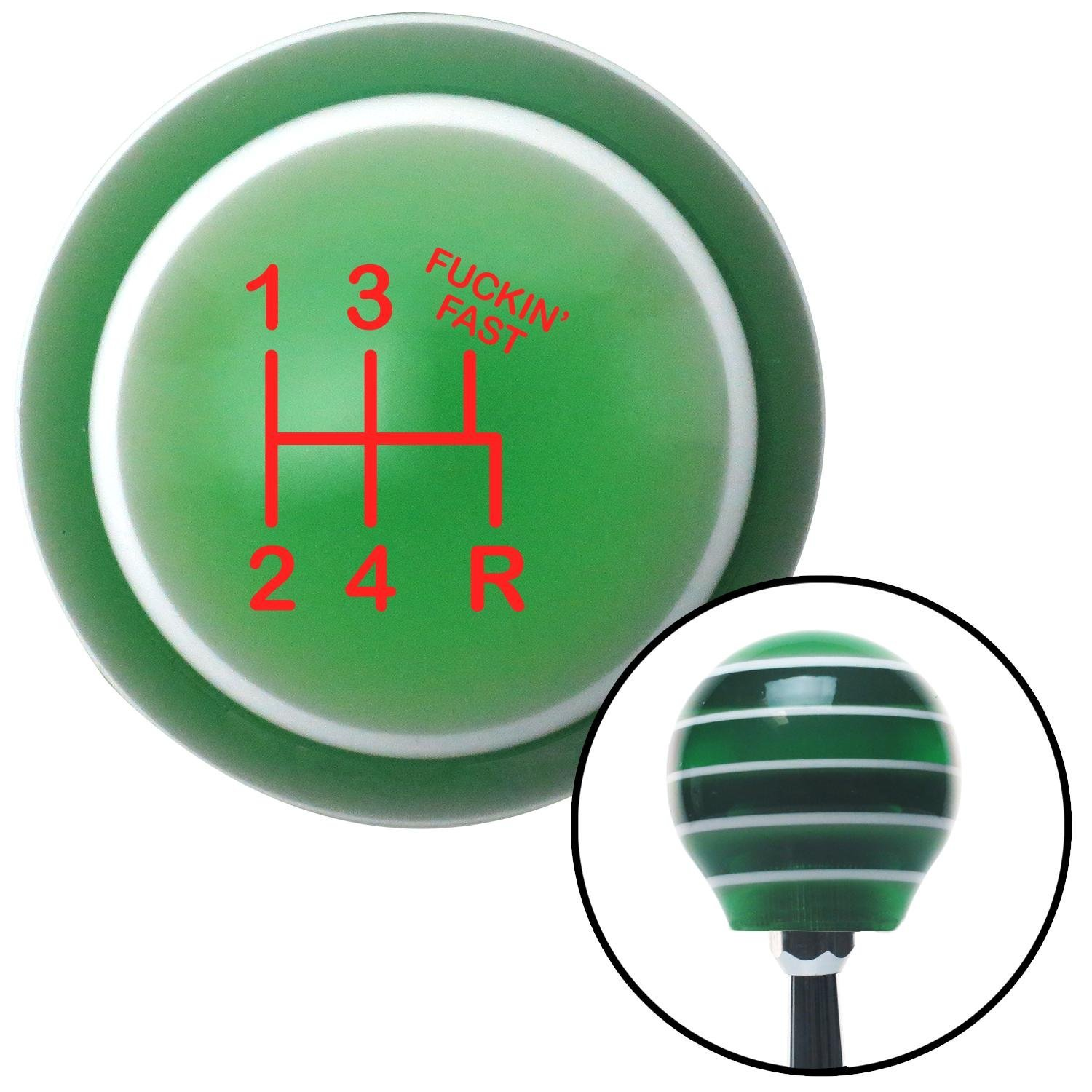 American Shifter 127487 Green Stripe Shift Knob with M16 x 1.5 Insert Red Shift Pattern Fcking Fast Style 15n