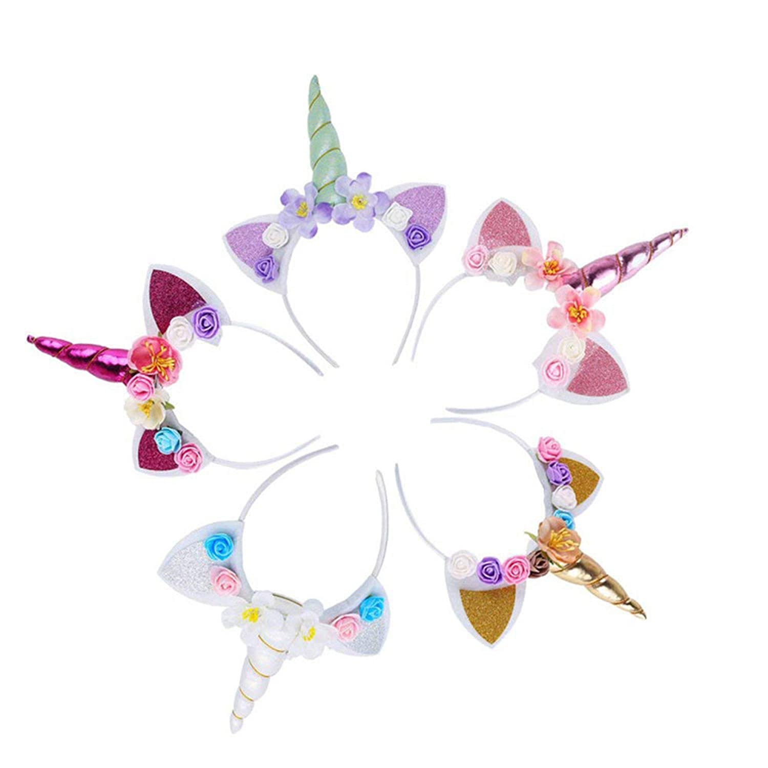5PCS Glitter Unicorn Horn Headband, Flower Ears Unicorn Headbands for for Girls, Happy Birthday Unicorn Party Supplies, Favors and Decorations, Cosplay Costume HMT