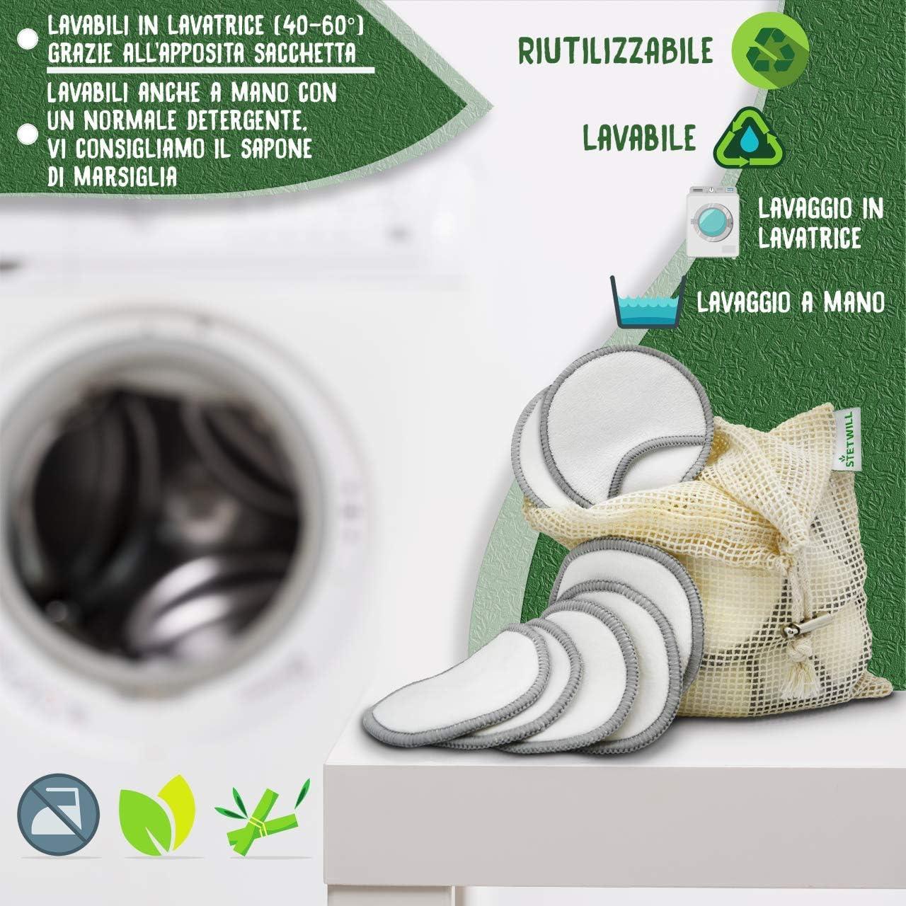 Disques d/émaquillants lavables en bambou Nettoyage gommage visage Disques d/émaquillants r/éutilisables 16 Maxi Lingettes d/émaquillantes Biod/égradables Ecologiques Bamboo Reusable Cotton Pads