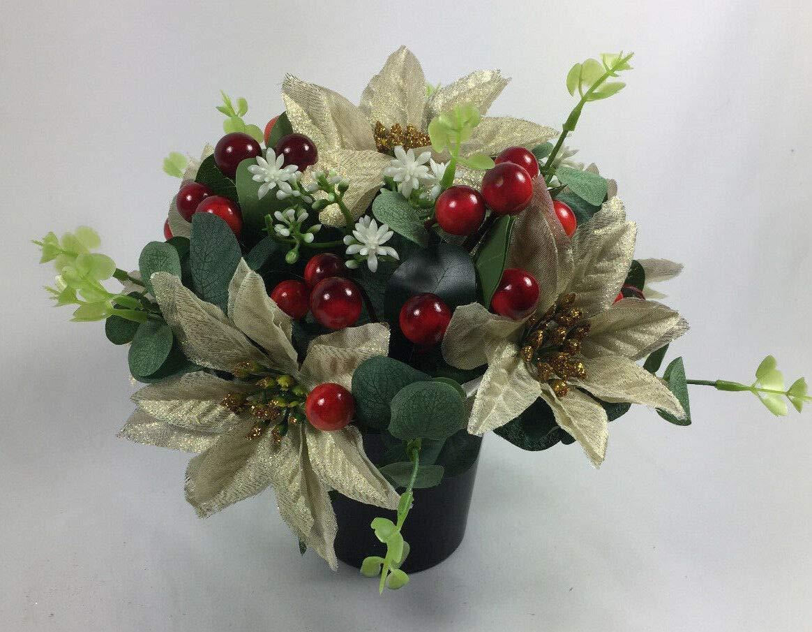 Christmas Artificial Grave Flower Arrangement In Grave Pot 23cm Amazon Co Uk Handmade