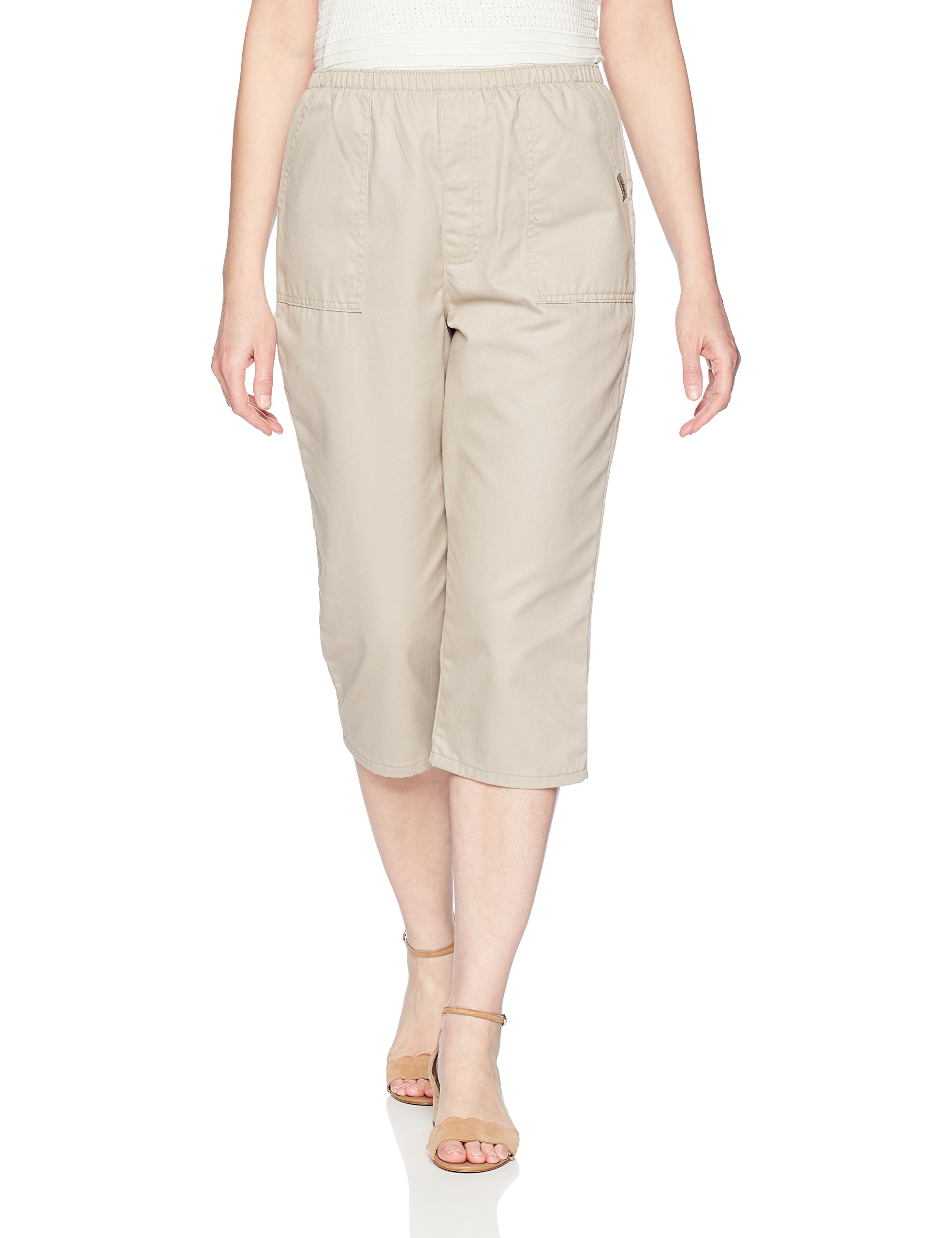 Chic Classic Collection Women's Cotton Pull-on Utility Pocket Capri with Elastic Waist, Khaki, 10 AVG