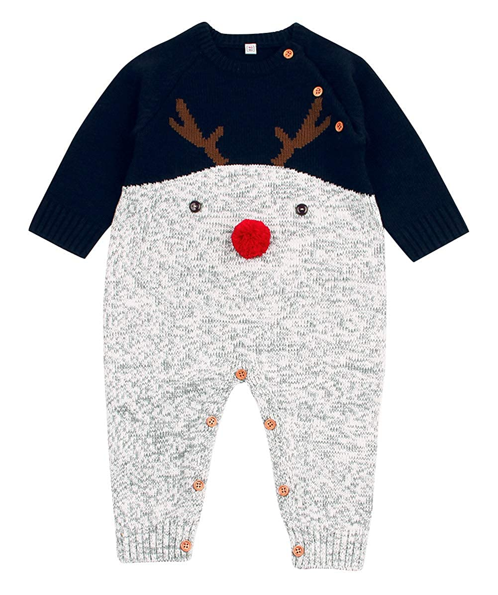 Happy Cherry Baby Winter Sweater Christmas Theme Deer Pattern Infant Romper