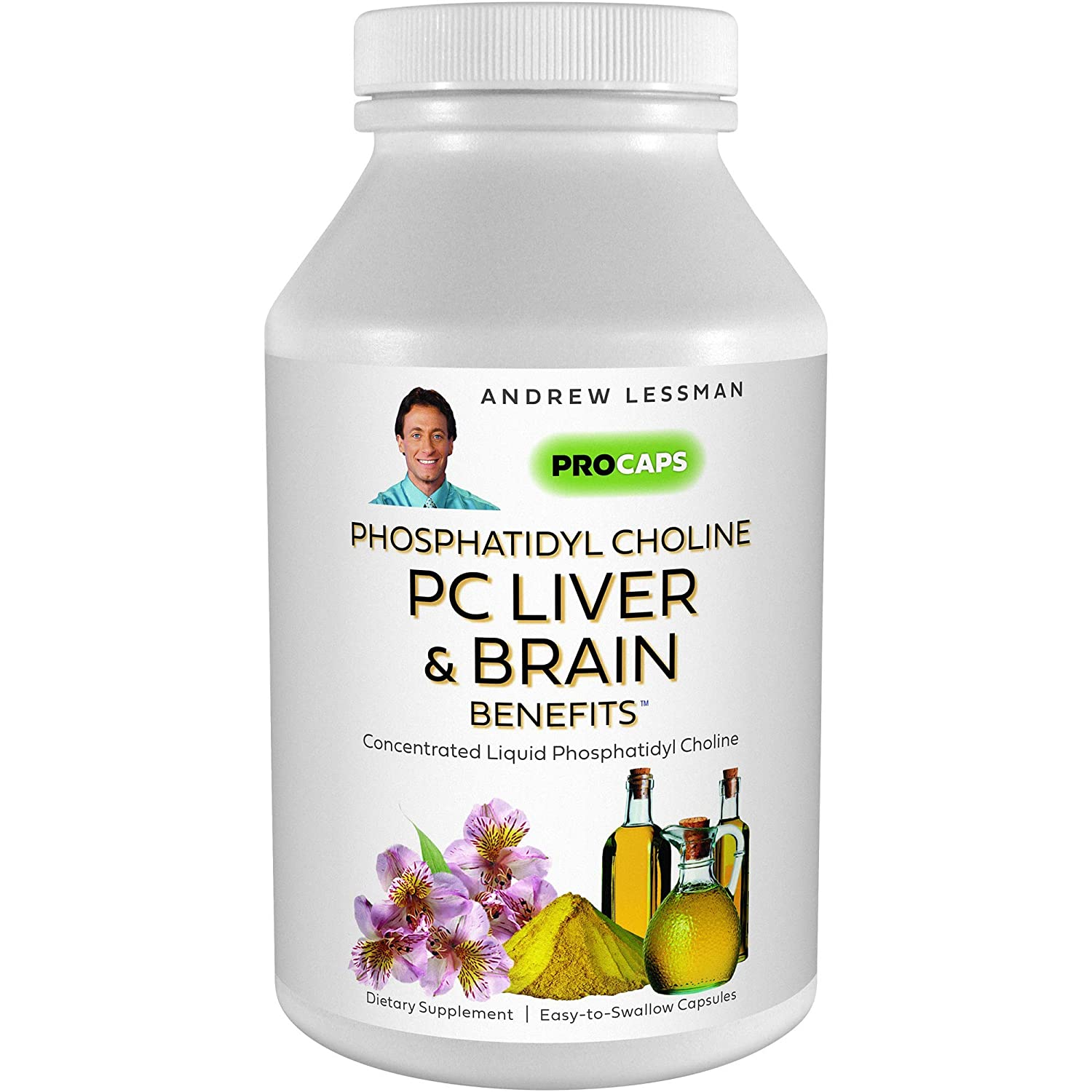 Andrew Lessman PC Liver & Brain Benefits 180 Softgels - Phosphatidyl Choline, Most Important Building Block for Healthy Liver and Brain Structure and Function. No Additives. Easy to Swallow Softgels