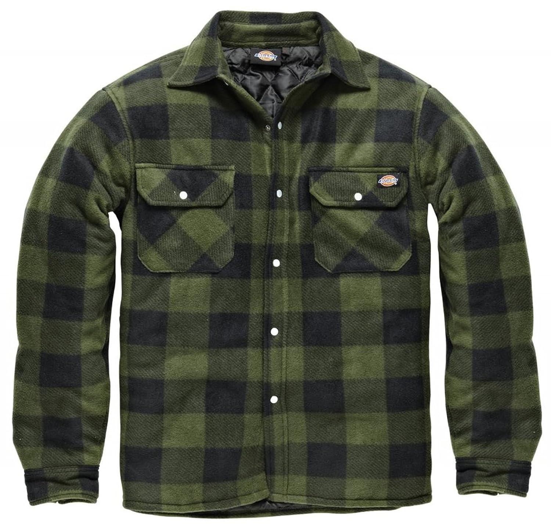 Shirt jacket design - Dickies Portland Shirt High Quality Padded Work Shirt Jacket Polar Fleece Check Design Studded Front Opening