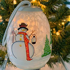 BANBERRY DESIGNS Snowman Christmas Light Glass Ornament - Frosty Globe Ornament with Jolly Snow Man in a Winter Village - Color Changing LED Lights- Christmas Ornament Gift