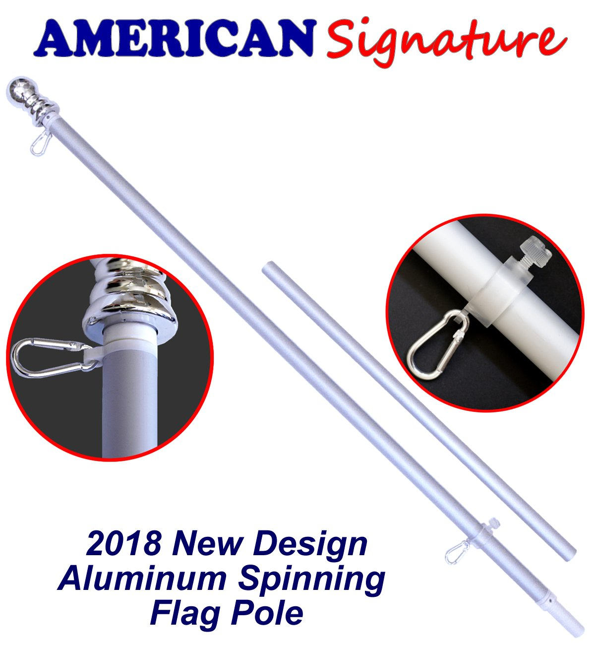 American Signature Flag Pole 5 Ft - Heavy Duty Aluminum Spinning Tangle Free Flagpole for Sale - Outdoor Wall Mount Flag Pole for Residential or Commercial. (Silver, 5')