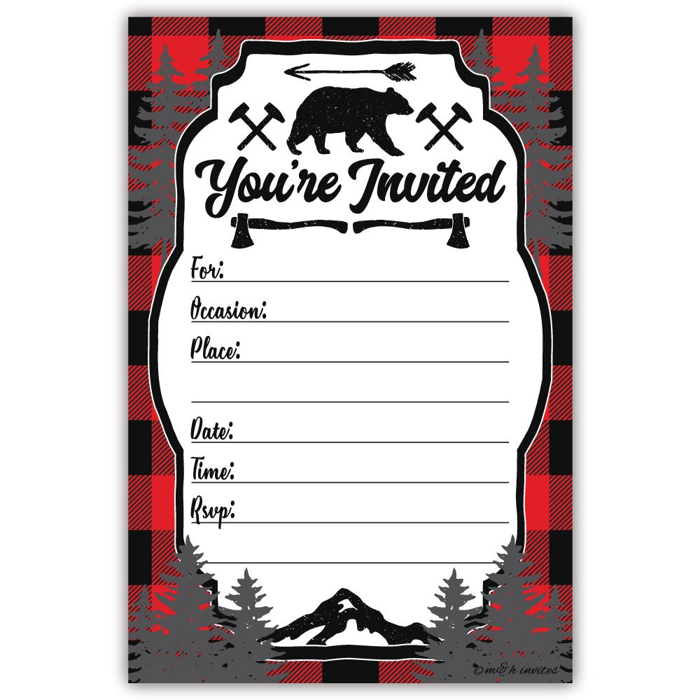 Lumberjack Rustic Birthday Party or Baby Shower Invitations (20 Count) With Envelopes