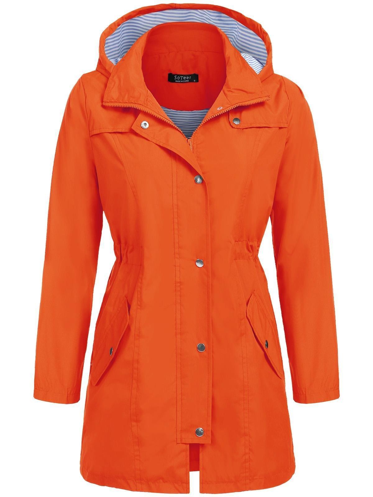 SoTeer Women's Casual Long Sleeve Contrast Color Hooded Coat Softshell Jacket (Orange, XXL)