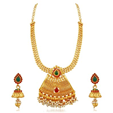 5a801f53b6 Buy Apara South Indian Gold Plated Necklace Jewellery Set for Women Online  at Low Prices in India   Amazon Jewellery Store - Amazon.in