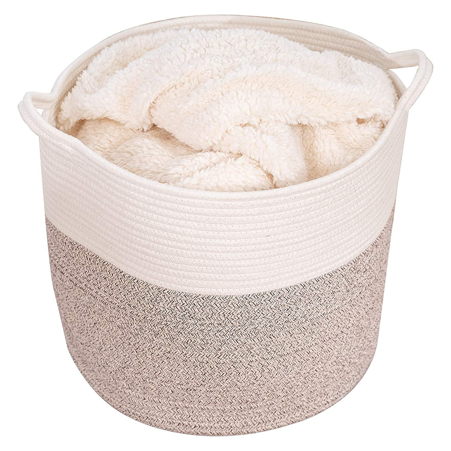 VK Living Cotton Rope Plant Basket with Handles 10