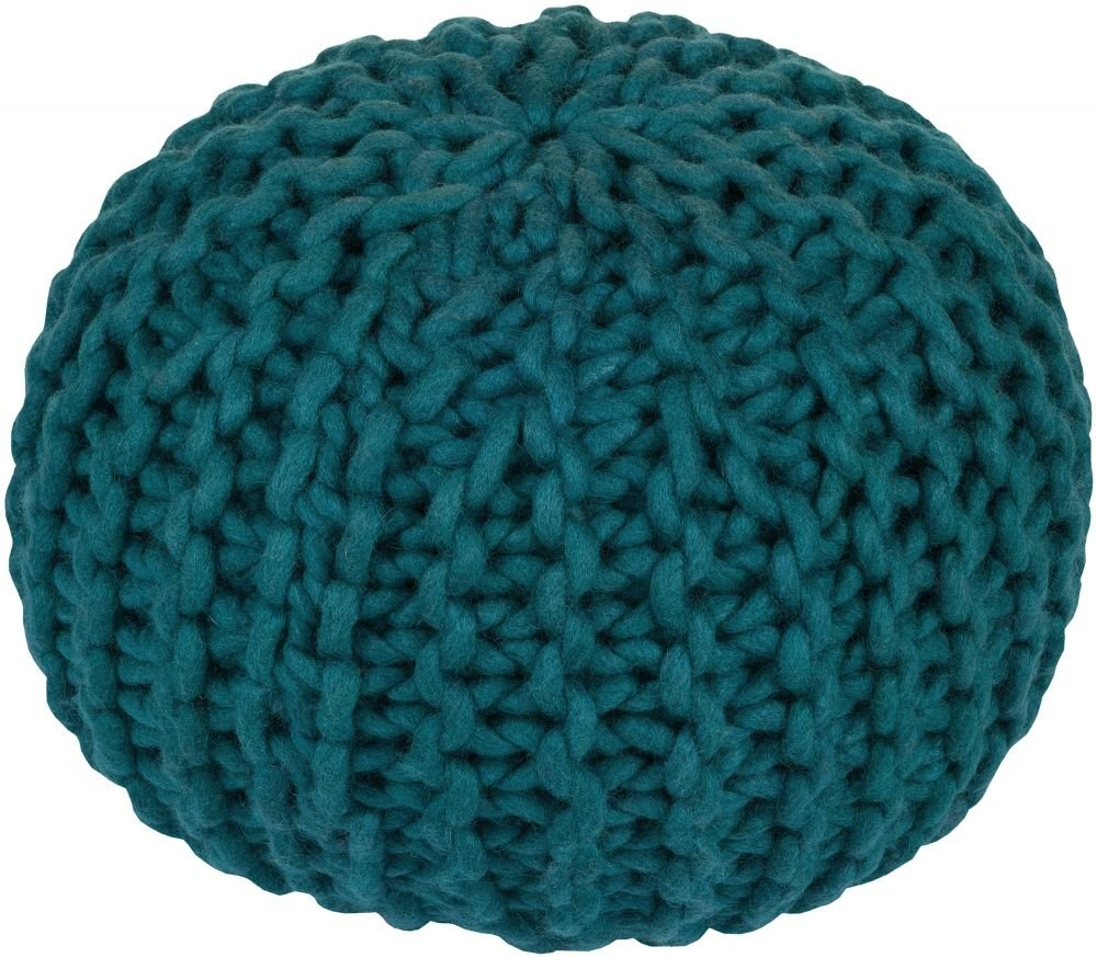 Surya Contemporary Round pouf/ottoman 20''x20''x14'' in Teal Color From Fargo Collection
