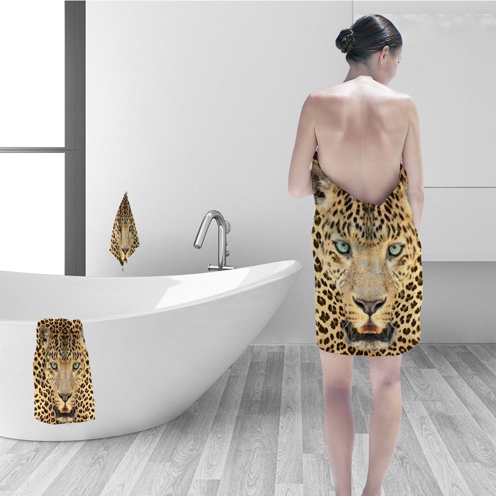 Hand towel set Wildlife Decor Wild Tiger Leopard Print Picture of Art Photos Big Cat Green Eyes in Animal Themed for the Bathroom Home and House Bath Decorations Yellow Brown