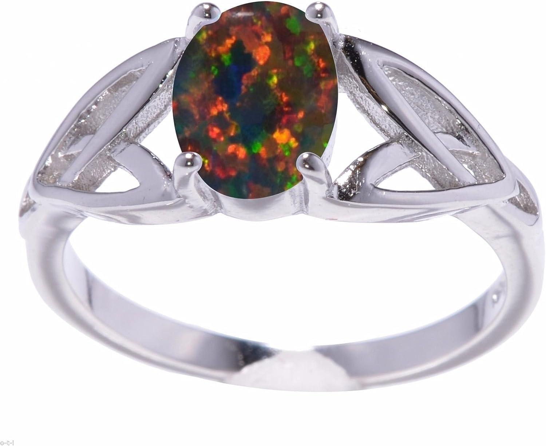 Black Fire Opal cœur infini Celtique Argent Sterling Anneau Taille 4-12