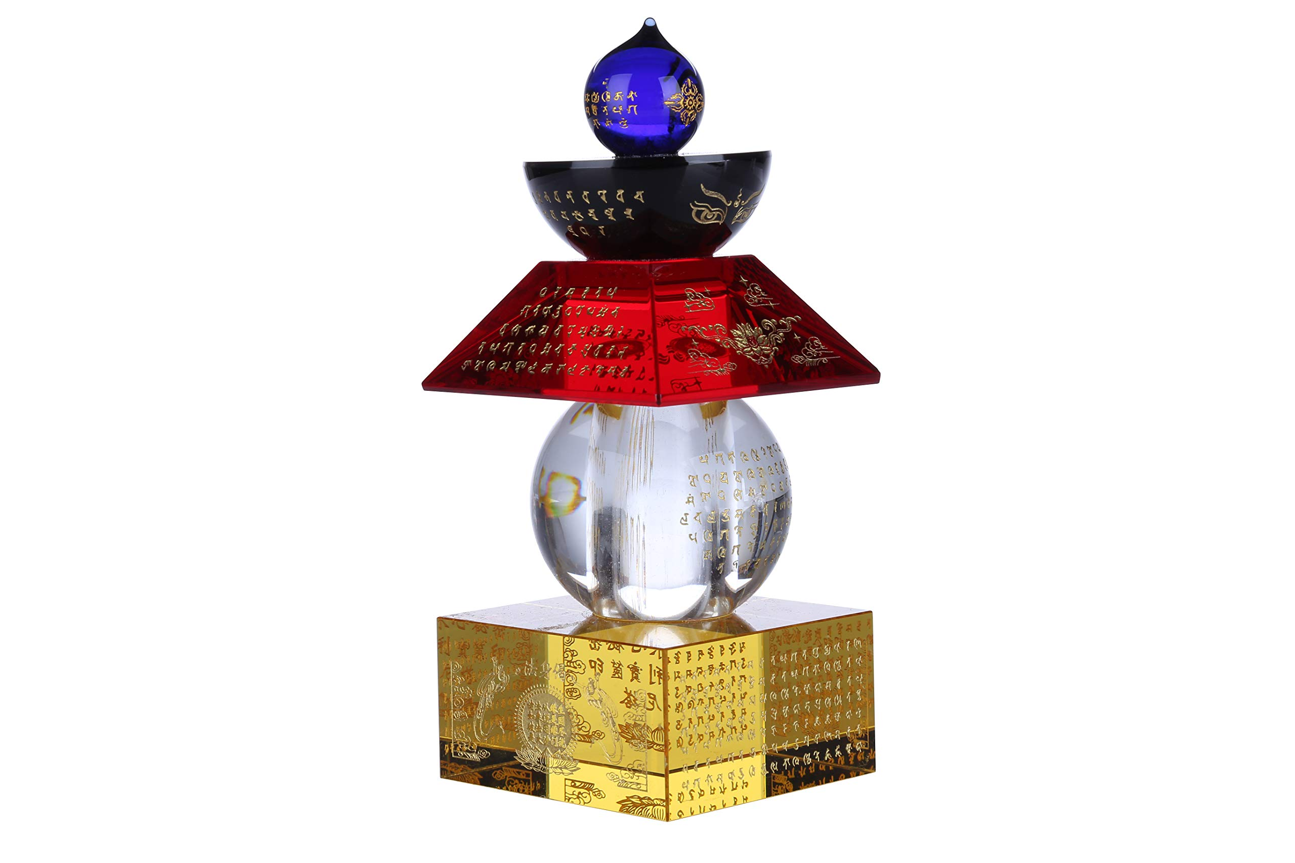 I-MART Feng Shui Crystal 5 Color 5 Element Pagoda (5.5 Inches)