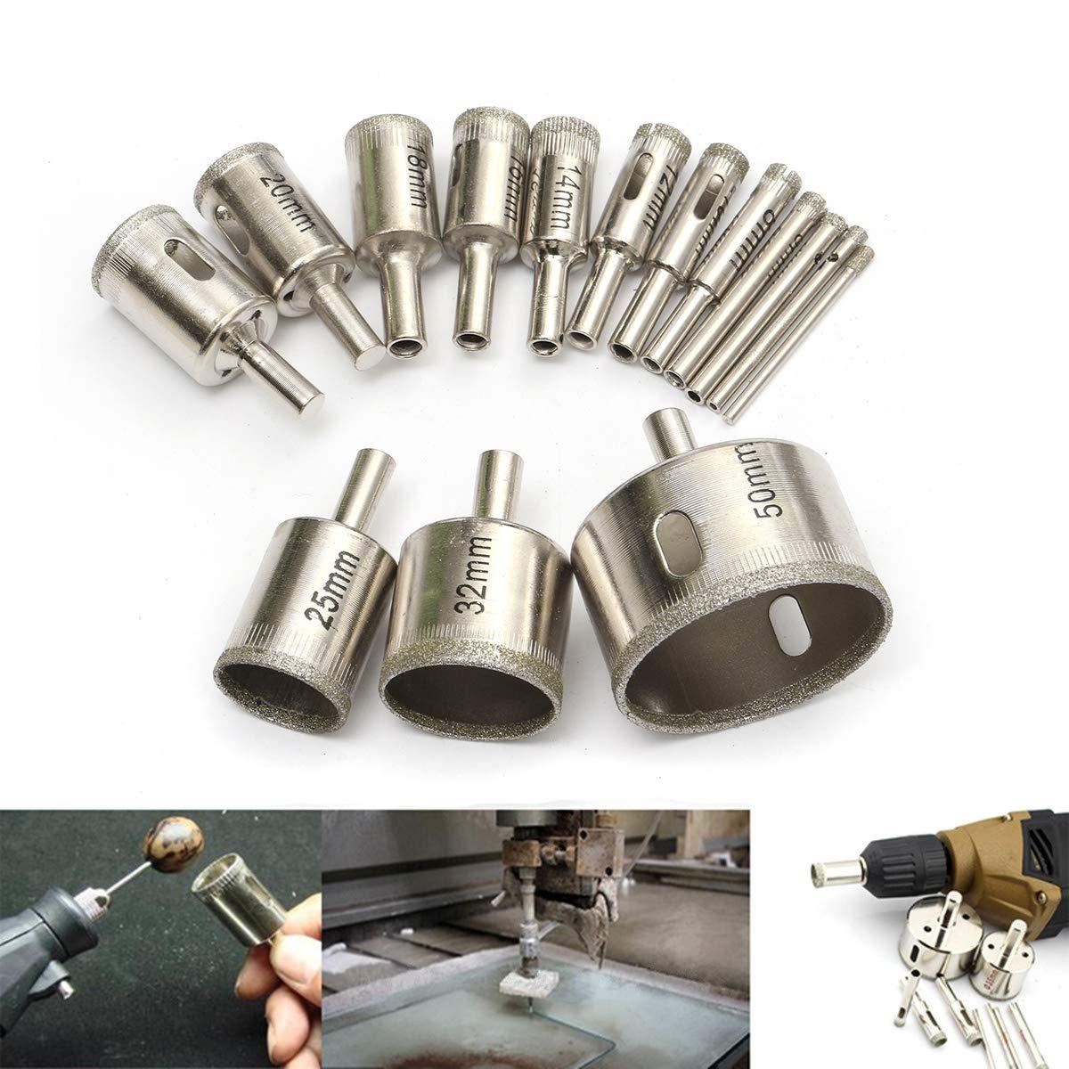 ZYCkeji Efficace Diamante Drill Bit Holes, 15pcs 3-50mm Diamond Drill Set Bit Hole Cutter per piastrelle in ceramica Vetro porcellana Marmo
