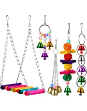M-Aimee 5 Pieces Bird Swing Toys Bell Colorful Natural Wood Hammock Hanging Perch Small Medium Birds Parakeets Cockatiels Conures Macaws Parrots Love Birds Finches
