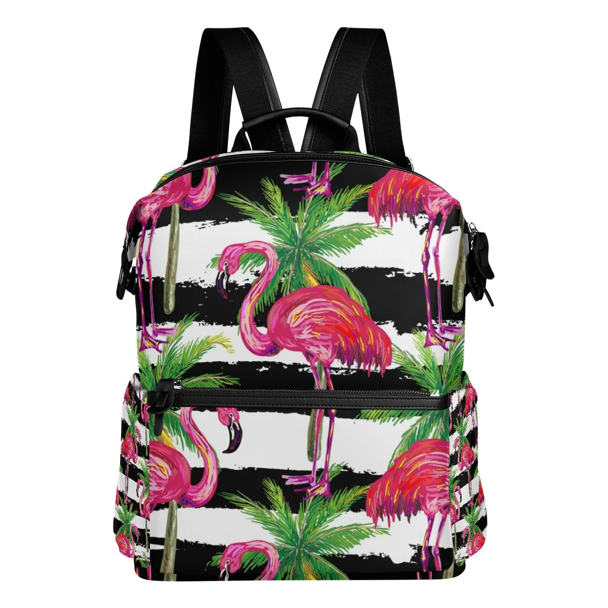 LORVIES Exotic Pink Flamingo Birds And Palm Trees School Rucksack Travel Backpack