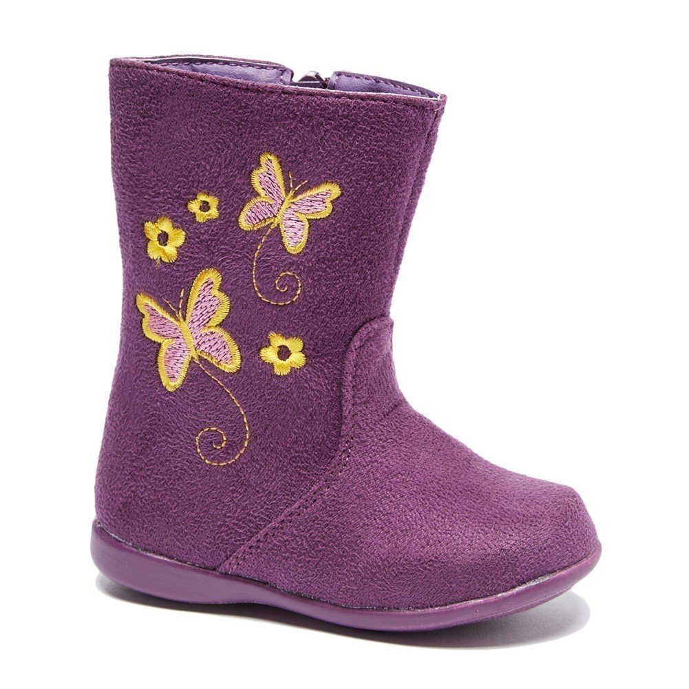 Little Girls Purple Butterfly Embroidered Side Zip Boots 9 Toddler