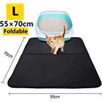 Cat Litter Mat Trapper Mat,Extra Large Double-Layer Honeycomb Cat Litter Box Mat with Waterproof Base Layer ECO-friendly Light Weight EVA Foam Rubber by AENMIL (27 x 22 inch Black)