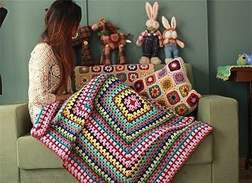 Desconocido Manta de Punto de Lana para sofá, diseño de Rayas de Crochet Hecha a