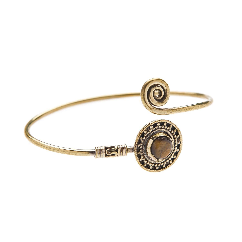 81stgeneration Femmes Laiton Ton DOr Gemme Tribal Ethnique Indien Réglable Manchette Bracelet 01rnBBR010-t