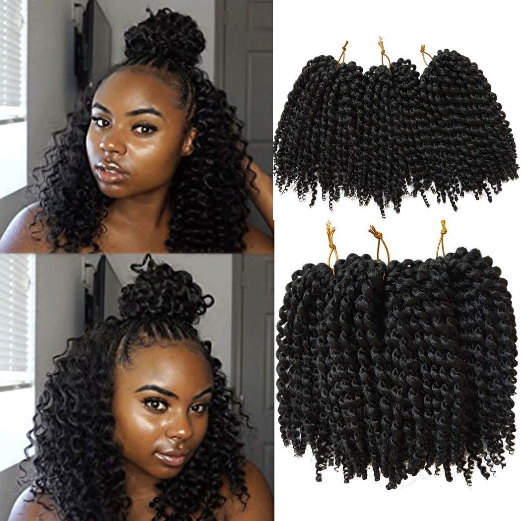 Amazon Com 6 Piece Flyteng 8 Inch Marlybob Kinky Curl Crochet Hair Extensions Black Color Crochet Braids Marlybob Crochet Hair Curly Weave Hair Synthetic Braiding Hair Beauty