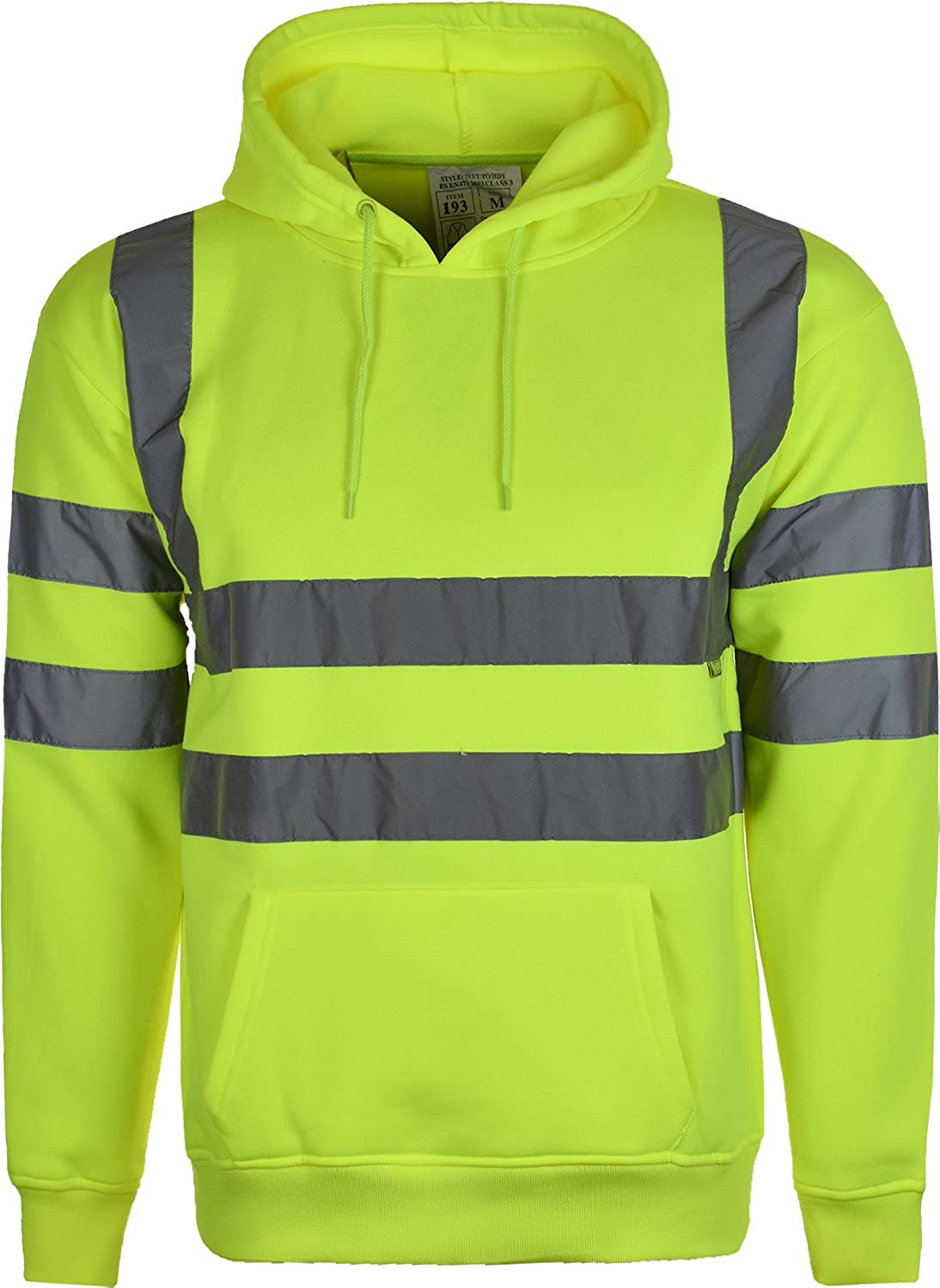 Hi Vis High Visibility Sweatshirt Hooded Jumper Fleece Workwear Hoodie Small to 3XL