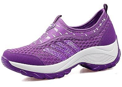 DADAWEN Women's Slip-On Platform Fitness Work Out Sneaker Black US Size 5/Asia Size 35 yP5DWFT