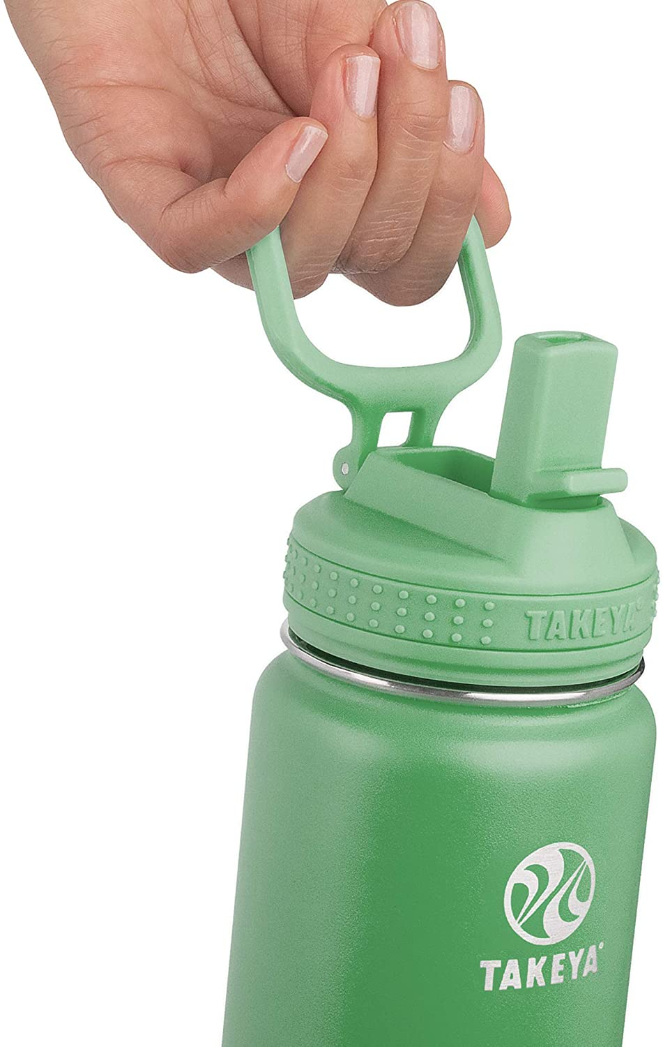 22 Ounce Mint Takeya Actives Insulated Water Bottle w//Straw Lid