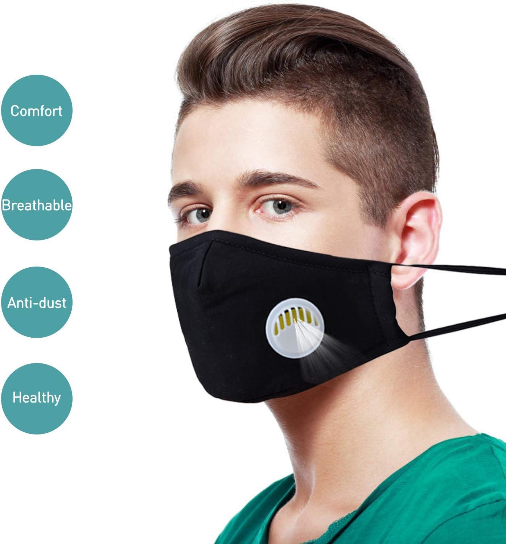 Masker Mulut, Aniwon 3 Pack Anti Debu Polusi Masker dengan 6 Pcs Filter Karbon Aktif Insert Mode Cotton Masker Wajah PM2.5 Debu Masker untuk Pria Wanita