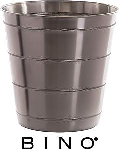 BINO Metal Waste Basket Bathroom Trash Can for Bedroom, Home Office, Dorm, College, Kitchen