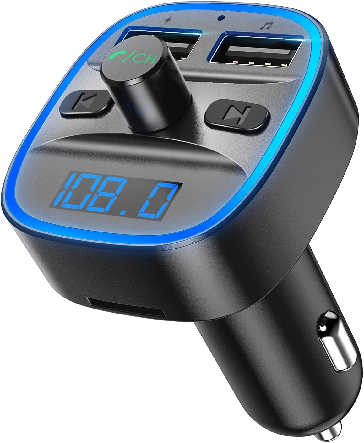 (NEW) Bluetooth FM Transmitter for Car, Wireless in-Car Radio Transmitter Adapter Car Kit, Music Player Supports TF Card, USB Disk, Hands-free Calling Dual USB Ports