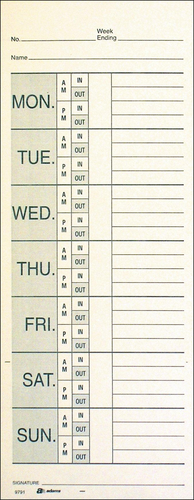 Adams Time Cards, Weekly, 2-Sided, Overtime Format, Named Days, 3-3/8'' x 9'', Manila, Green/Red Print, 200-Count (9791-200) by Adams (Image #2)