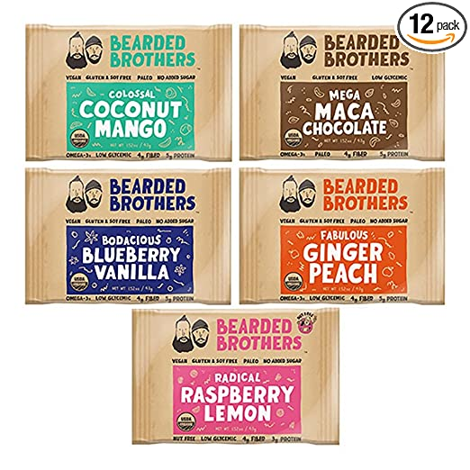 Bearded Brothers Whole Food Energy Bars: 5 flavors, Paleo, Gluten Free, Soy Free, Vegan, Non-GMO, USDA Organic, Low Glycemic, Great Source of Protein and Fiber (12-Pack) best paleo bars