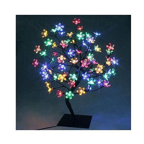 Led Cherry Blossom Bonsai Stylt Tree Lamp 60cm With 90 Led Multi