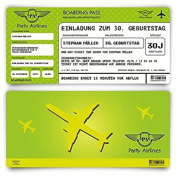 Einladungskarten zum Geburtstag (30 Stück) als Flugticket Ticket ...