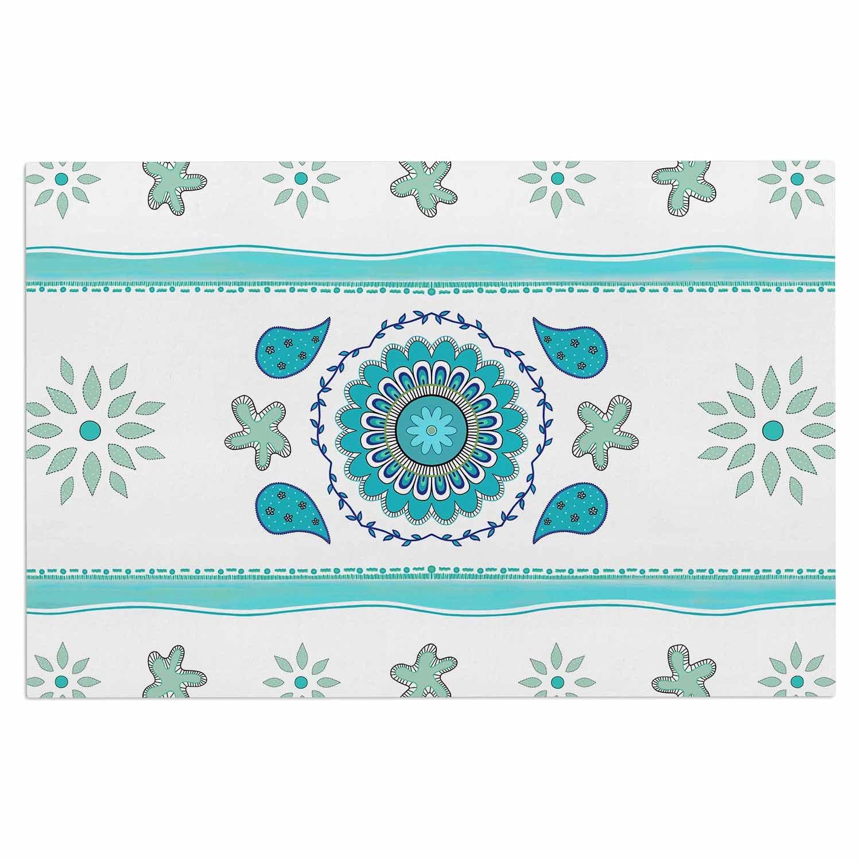 Kess InHouse Cristina Bianco Mandala Design Blue White Painting Decorative Door 2 x 3 Floor Mat