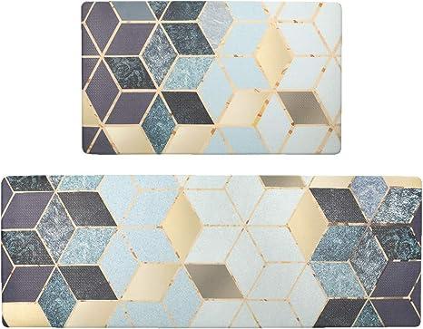 Amazon Com U Artlines Anti Fatigue Kitchen Floor Mat Comfort Heavy Duty Standing Mats Waterproof Pvc Non Slip Washable For Indoor Outdoor 17x30 17x47inch Blue Kitchen Dining