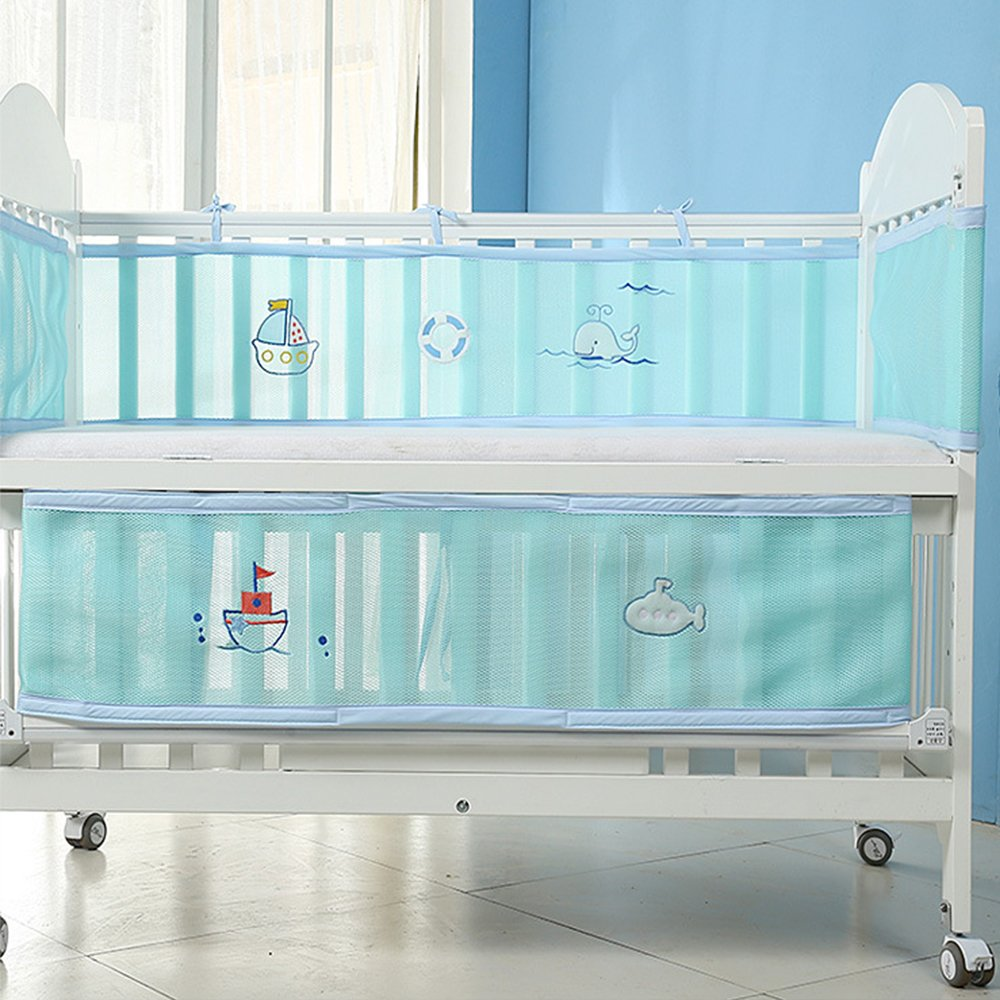 Breathable Mesh Liner Prevents Babies from Getting Stuck in Crib Slats- Yellow PreciousBaby