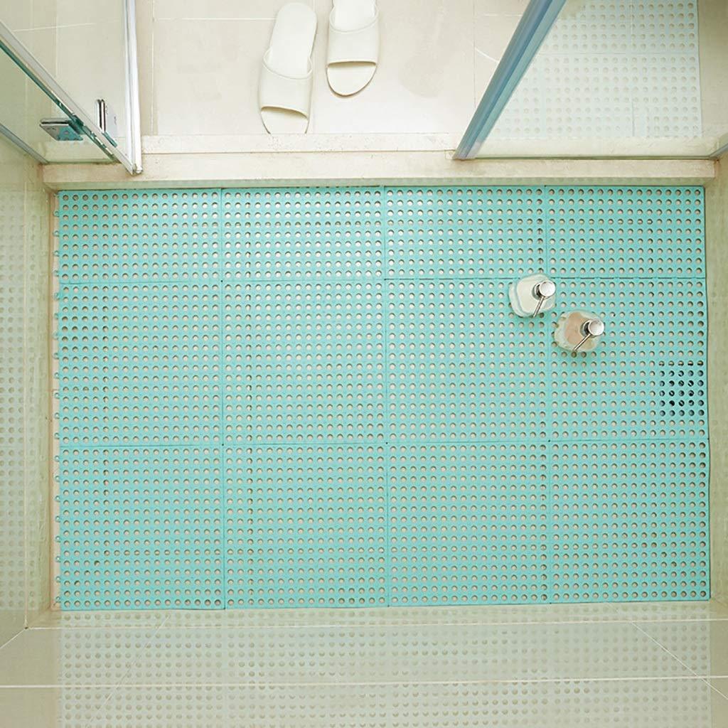 Bath mats antiscivolo Absorbent Floor Mat Stitching Shower Room Bathing Water Hollow Plastic Foot mat (Size : 3030CM(8PIC))