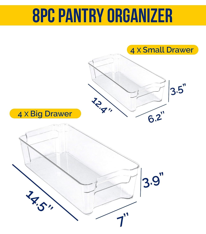 KICHLY Paquete de 8 Transparente Organizador de despensa de Refrigerador