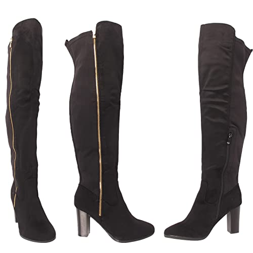 Ladies Womens Over The Knee Boots Thigh High Block Heel Lace Up Zip Shoe Size UK