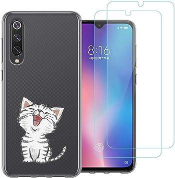 jrester Funda Xiaomi Mi 9 SE,Lindo Gatito Flexible Suave Transparente Silicona Smartphone Cascara Protectora para Xiaomi Mi 9 SE (5,97