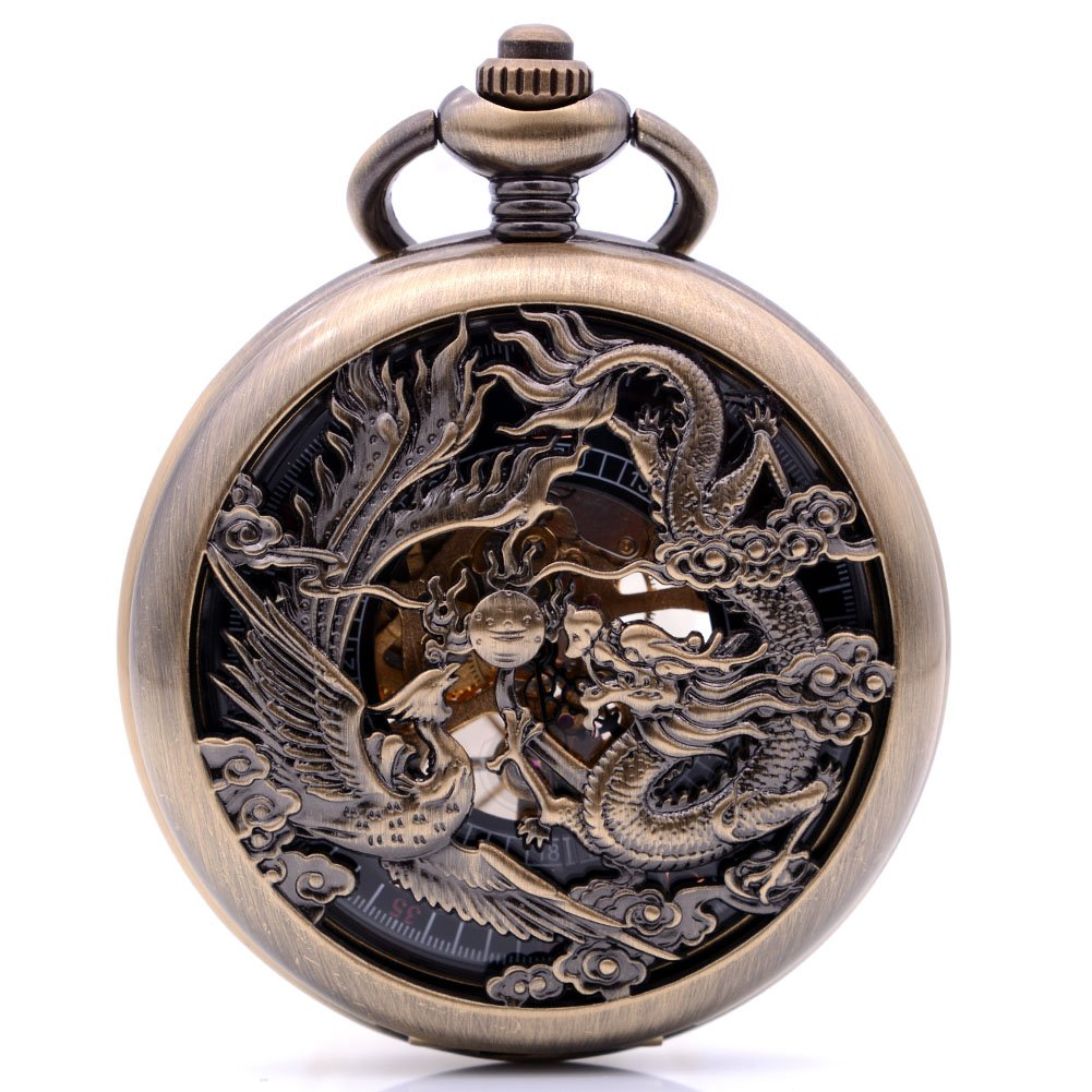 Antique Bronze Dragon and Phoenix Hand-Wind Mechanical Pocket Watch Mens Womens Watch with Chain&Box