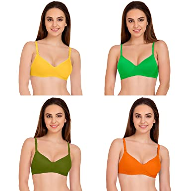 a121217ad Tweens Multicolor Full Coverage Padded T-Shirt Bra Pack of 4  Amazon.in   Clothing   Accessories