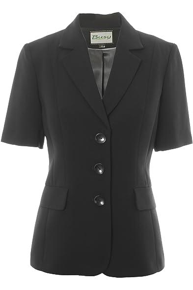 Busy Clothing Womens Black Short Sleeve Jacket: Amazon.co.uk: Clothing