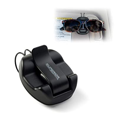 Superior Essentials Sunglasses Holder for Sun Visor/Air Vent - Conveniently Holds Sunglasses - Easy One Handed Operation: Automotive