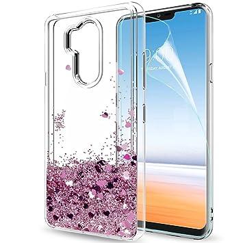 LeYi Funda LG G7 Silicona Purpurina Carcasa con HD Protectores de Pantalla, Transparente Cristal Bumper Telefono Gel TPU Fundas Case Cover para Movil ...