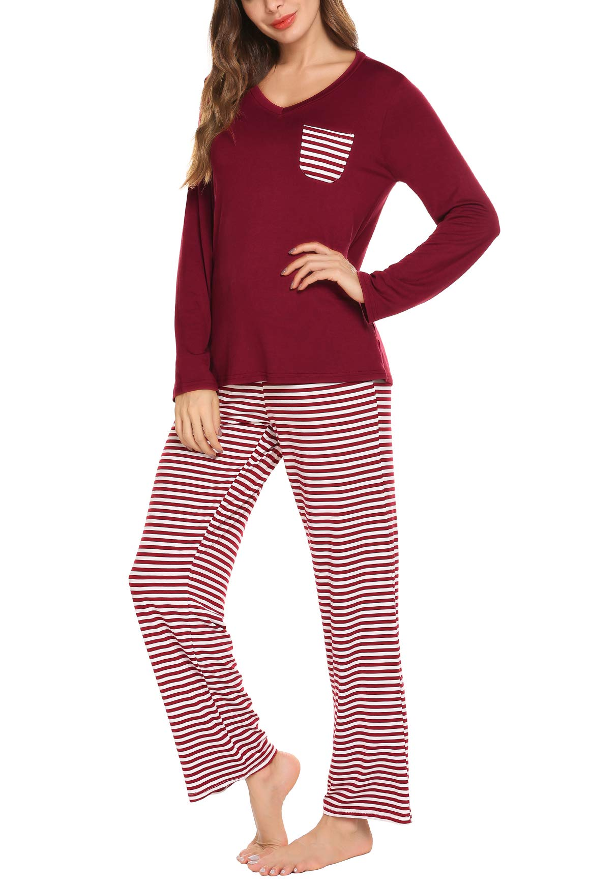 Soft Cotton V-Neck Pullover Women's Pajama Set with Long Pants Warm Sleepwear for Winter Wine Red S
