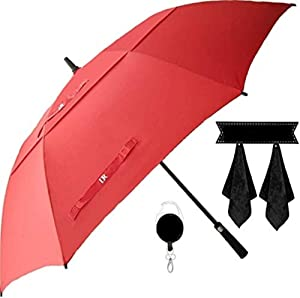 Large Golf Umbrella, Double Canopy Windproof Design, 61 Inch Strong Vented Automatic Travel Umbrella, Perfect for Sun or Heavy Rain - Bonus Microfiber Towel & Retractable Keychain